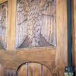 Carved wooden owl, old furniture — Stok Fotoğraf #23149114