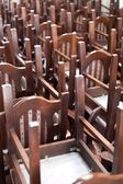 Stacked wooden classic chairs, vintage objects — Stock Photo