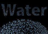 Acqua in gocce, sfondo nero — Foto Stock