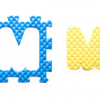 Colored letters M alphabet for children — Stock Photo