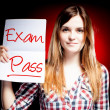 Foto de Stock  : Passed test or exam and happy girl