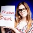 Excellent work, exam and happy proud woman — Stok Fotoğraf #24961789