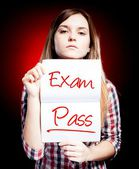 Passed test or exam and proud girl — Stock Photo