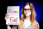 Failed test or exam and disappointed girl — Stock Photo