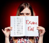 Failed test or exam and angry girl — Stock Photo