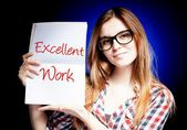 Excellent work, exam and happy proud woman — Stock Photo