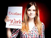 Excellent work, exam and happy woman — Stock Photo