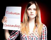 Evaluation Outstanding, exam and proud woman — Stock Photo