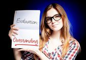 Evaluation Outstanding, school exam and happy proud woman — Stock Photo