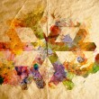 Stock Photo: Watercolor snowflake, old paper background