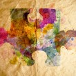 Stock Photo: Watercolor puzzle, old paper background