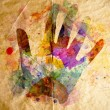 Stock Photo: Watercolor handprint, old paper background