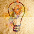 Watercolor light bulb, old paper background - Stock Photo