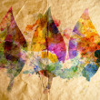 Stock Photo: Watercolor leaves, old paper background