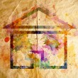 Stock Photo: Watercolor home, old paper background