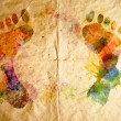 Stock Photo: Watercolor footprint, old paper background