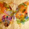 Stock Photo: Watercolor butterfly, old paper background