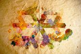 Watercolor snowflake, old paper background — Stock fotografie