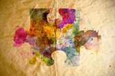 Watercolor puzzle, old paper background — Stock Photo