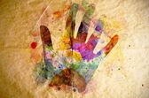 Watercolor handprint, old paper background — Stock Photo