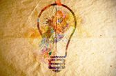 Watercolor light bulb, old paper background — Stock Photo
