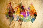 Watercolor leaves, old paper background — Stock Photo