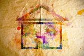 Watercolor home, old paper background — Stock Photo