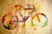 Watercolor bicycle, old paper background — Stock Photo