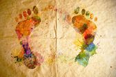 Watercolor footprint, old paper background — Stock Photo