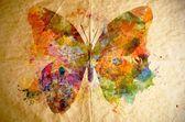 Акварель бабочка, старый фон бумаги — Стоковое фото