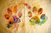 Watercolor dog footprint, old paper background — Stock Photo