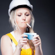 Young architect woman construction worker, cigarette and phone — Stock Photo #25206585