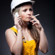 Young architect woman construction worker, cigarette and phone — Stock Photo #25206633