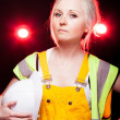 Young architect woman construction worker, safety helmet — Stock Photo #25211469
