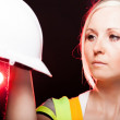 Young architect woman construction worker, safety helmet — Stock Photo