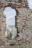Medeltida slottsruiner sten fönster — Stockfoto