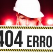 Worker holding 404 error sign on information board — Stock Photo #25575077