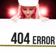404 error sign held by worker — Stock Photo