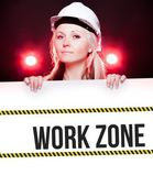Work zone sign on information poster, worker woman — Stock Photo