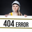 404 error sign on template board, worker woman — Stock Photo #25588829