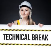 Technical break sign on template board, worker woman — Stock Photo