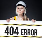 404 error sign on template board, worker woman — Stock Photo