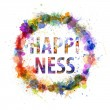 Happiness concept, watercolor splashes as a sign — Foto Stock