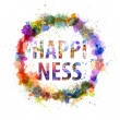 Happiness concept, watercolor splashes as a sign — Stock Photo