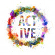 Active concept, watercolor splashes as a sign - Stock Photo