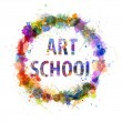 Art school concept, watercolor splashes as sign — Stock Photo #26078459