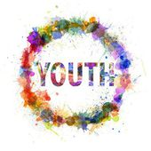 Youth concept, watercolor splashes as a sign — Stock Photo