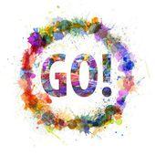 Go concept, watercolor splashes as a sign — Stock Photo