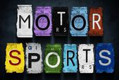 Motor sports word on vintage car license plates, concept sign — Stock Photo