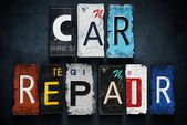 Car repair word on vintage license plates, concept sign — Stock Photo